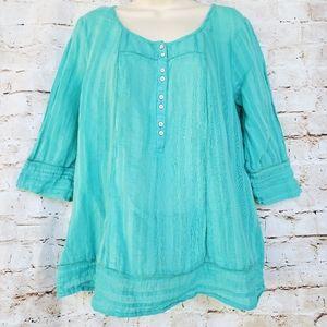 Mermaid Green Linen Cotton Pleated Tunic Shirt L T